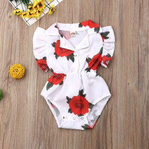 Summer Newborn Baby Girl Clothes Rose Print Ruffle Romper Jumpsuit One-Piece Outfit Sunsuit Clothes - shopbabyitems