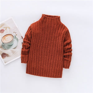 Pullover Knitted Sweaters Solid Baby Girl Winter Clothes Thick Clothing for girls Warm Children's Clothing from 1 to7 Years Old - shopbabyitems
