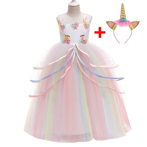 Rainbow Unicorn Cosplay Girl Dress Party Elegant Flower Lace Long Tutu Formal Ball Gown Princess Baby Dresses 3-10 Years DJS009 - shopbabyitems
