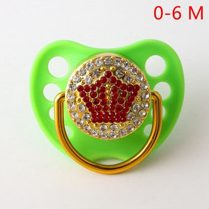 Red Crown Pacifiers For Baby 0-18 Months Baby Pacifiers BPA Free Bling Pacifiers - shopbabyitems