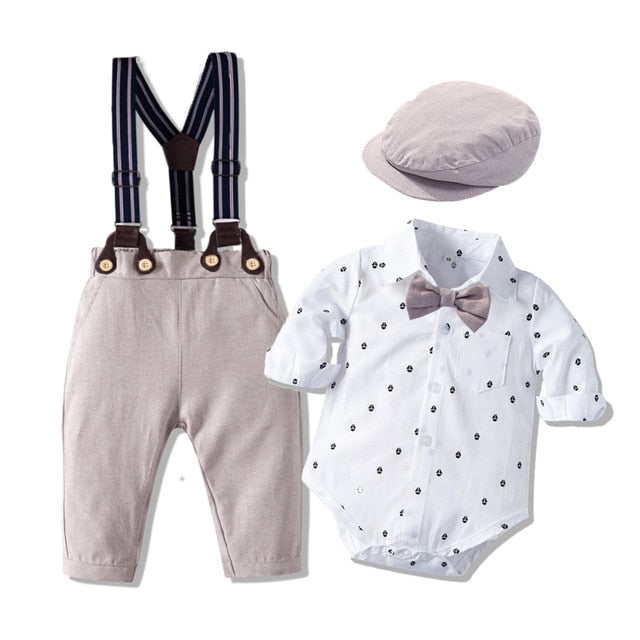 Romper Clothes Set For Baby Boy With Bow Hat Gentleman Striped Summer Suit With Bow Toddler Kid Bodysuit Set Infant Boy Clothing - shopbabyitems