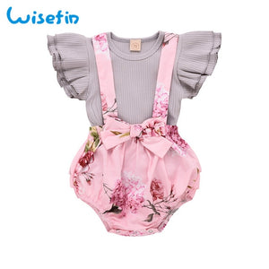 Ruffle Sleeves Cute Girls Baby Set Summer Clothes Baby Girl Outfits Flower Toddler Girl Clothing Set 2Pcs Tops+Jumpsuits D30 - shopbabyitems
