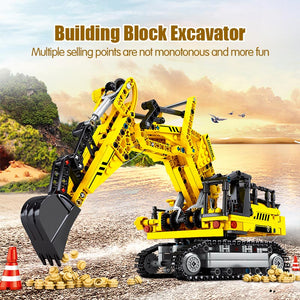 BLOCK City Engineering Bulldozer Crane legoing Technic Car Truck Excavator Roller Building Blocks bricks Construction Toys - shopbabyitems