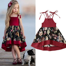 Load image into Gallery viewer, SUmmer Toddler Kids Baby Girls Strap Dress Party Princess Flowers Dress Red Set - shopbabyitems