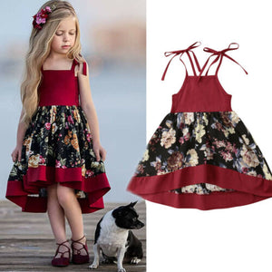 SUmmer Toddler Kids Baby Girls Strap Dress Party Princess Flowers Dress Red Set - shopbabyitems