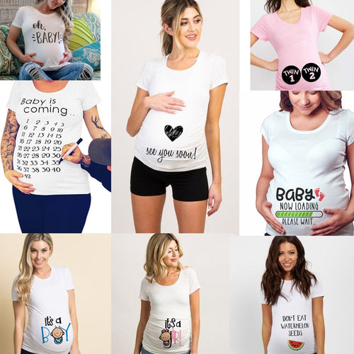 Maternity Funny Letter Tops O-Neck Pregnancy T Shirts for Pregnant Women - shopbabyitems