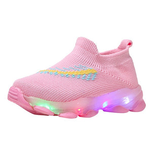 Sneakers Children Baby Girls Boys Feather Mesh Led Luminous Socks Sport Run Sneakers Sapato Infantil Menina Light Up Shoes - shopbabyitems