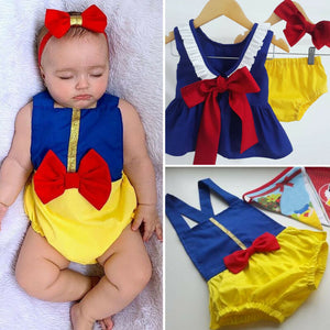 Snow White Baby Girl Clothes Bowknot Romper Tops Dress Shorts Outfit Summer - shopbabyitems