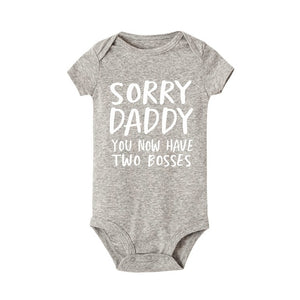 Sorry Daddy you now have two bosses print Baby Rompers Summer Baby Clothing - shopbabyitems