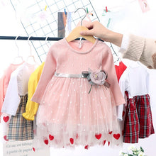 Load image into Gallery viewer, Spring Winter Baby Girls Dress 6M-4T Round Neck Mesh Stitching Gauze Princess Flower Cute Sweet Long Sleeve Dress Kids Dresses - shopbabyitems