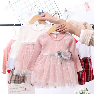 Spring Winter Baby Girls Dress 6M-4T Round Neck Mesh Stitching Gauze Princess Flower Cute Sweet Long Sleeve Dress Kids Dresses - shopbabyitems