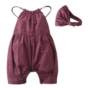 Summer Baby Girl Romper Deep Red Round Dots Harnesses and Headband Newborn Baby Girl Clothes Infant Toddler Clothing Outfits - shopbabyitems