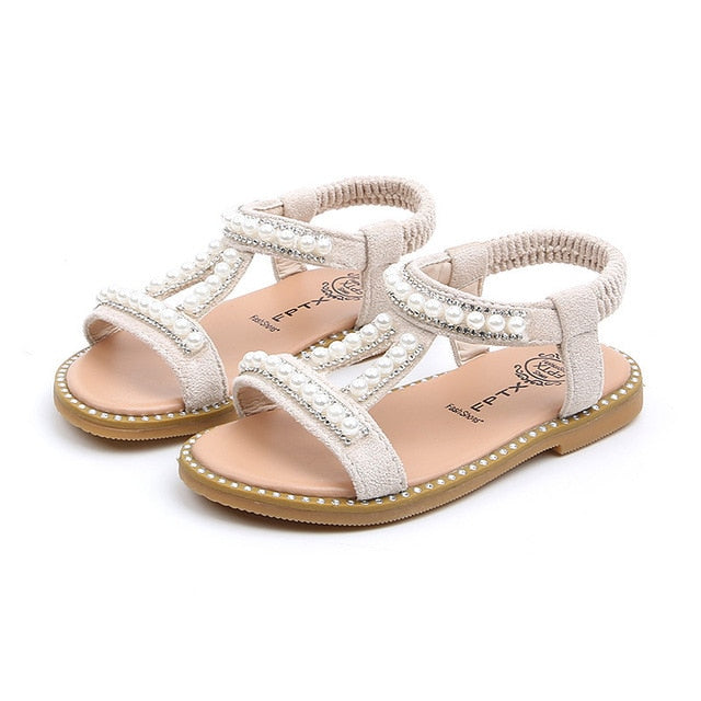 Summer Baby Girls Sandals Toddler Infant Kids Slip On Pearl Crystal Single Princess Roman Shoes For Children Girl - shopbabyitems