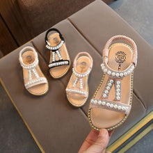 Load image into Gallery viewer, Summer Baby Girls Sandals Toddler Infant Kids Slip On Pearl Crystal Single Princess Roman Shoes For Children Girl - shopbabyitems