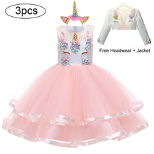 Load image into Gallery viewer, Summer Short For Girls Dress Kids Dresses For Girls Unicorn 3pcs Dress Christmas Carnival Costume Kids Princess Dress 2 5 8 10 Y - shopbabyitems