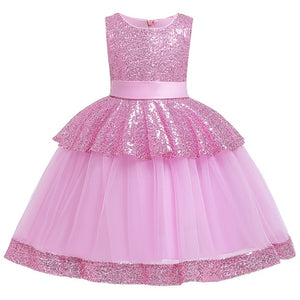 Summer girl elegant sleeveless princess dress Delicate sequin children's birthday party sweet dress Christmas dress - shopbabyitems
