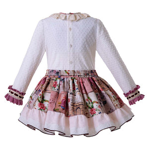 White Lace Blouse  +Flower Skirts Girls Sets Children Clothes - shopbabyitems