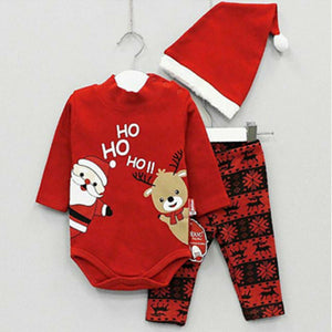 Toddler Baby Girls BoyZ Christmas Xmas Bodysuit Tops Pants Hat Autumn Clothes - shopbabyitems