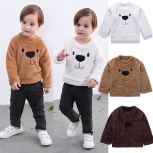 Toddler Baby Girls Boys Bear Tops Blouse Long Sleeve Sweatshirt Thick Clothes Winter Size 2-5T - shopbabyitems