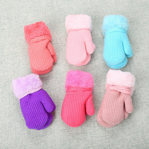 Toddler Baby Girls Boys Outdoor Winter Patchwork Keep Warm Mittens Gloves - shopbabyitems