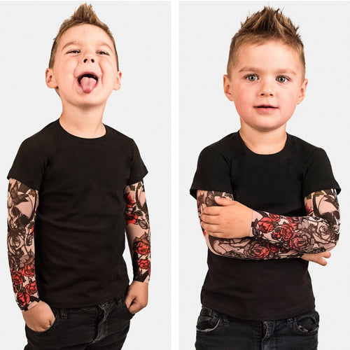 Toddler Baby Kids Boys T-Shirt with Mesh Tattoo Printed Sleeve Floral Tee Tops Tees T-shirt Children Hip Hop Rock Tshirt Toddler - shopbabyitems