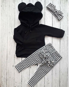 Toddler Kids Baby Girl Hooded Tops Plaid Pants Legging 3Pcs Outfits Set Clothes Infant Kids Clothes adorable girl winter clothes - shopbabyitems