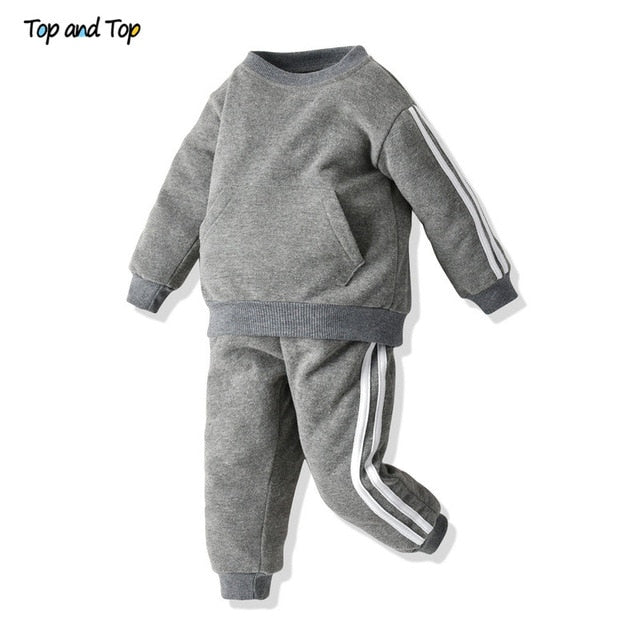 Top and Top Fashion Baby kids Boys Girls Clothes Set Pullover Sweatshirt Jacket+Trousers Infant Casual 2Pcs Outfits Suit - shopbabyitems