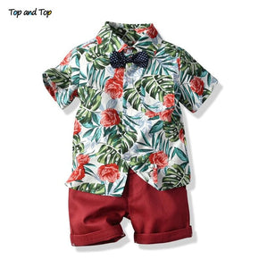 Top and Top Hawai Boy Clothing Set Summer Fashion Floral Short Sleeve Bowtie Shirt+Shorts Boy Casual Clothes Gentleman 2Pcs Suit - shopbabyitems
