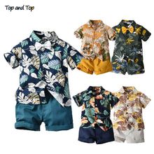 Load image into Gallery viewer, Top and Top Hawai Boy Clothing Set Summer Fashion Floral Short Sleeve Bowtie Shirt+Shorts Boy Casual Clothes Gentleman 2Pcs Suit - shopbabyitems