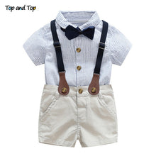 Load image into Gallery viewer, Top and Top Toddler Baby Boy Clothing Set Gentleman Short Sleeve Shirt+Suspender Shorts 2PCS Outfits Newborn Boy Clothes Set - shopbabyitems