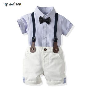 Top and Top Toddler Baby Boy Clothing Set Gentleman Short Sleeve Shirt+Suspender Shorts 2PCS Outfits Newborn Boy Clothes Set - shopbabyitems