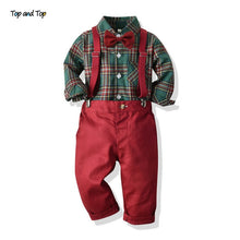 Load image into Gallery viewer, Top and Top Toddler Boys Clothing Set Autumn Winter Children Formal Shirt Tops+Suspender Pants 2PCS Suit Kids Christmas Outfits - shopbabyitems