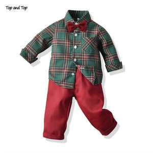 Top and Top Toddler Boys Clothing Set Autumn Winter Children Formal Shirt Tops+Suspender Pants 2PCS Suit Kids Christmas Outfits - shopbabyitems