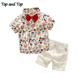 Top and Top boys clothing sets summer gentleman suits short sleeve shirt + shorts 2pcs kids clothes children clothing set - shopbabyitems