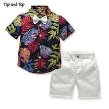 Load image into Gallery viewer, Top and Top boys clothing sets summer gentleman suits short sleeve shirt + shorts 2pcs kids clothes children clothing set - shopbabyitems