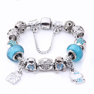 Trendy Silver Color Cute Children Cat Charm Bracelet for Women Kids Girls Crystal Beads Bracelet & Bangle Jewelry - shopbabyitems
