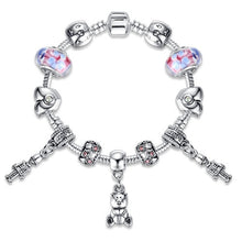 Load image into Gallery viewer, Trendy Silver Color Cute Children Cat Charm Bracelet for Women Kids Girls Crystal Beads Bracelet & Bangle Jewelry - shopbabyitems