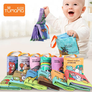 12pcs Baby Toys Cloth Books Letter Number Infant Educational Stroller Rattle Toy - shopbabyitems