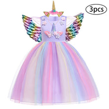 Load image into Gallery viewer, Unicorn Dresses For Girls Easter Elsa Costume Princess Dress 3Pcs Kids Baby Girls Birthday Party Vestidos Clothing 2 5 8 10 Year - shopbabyitems