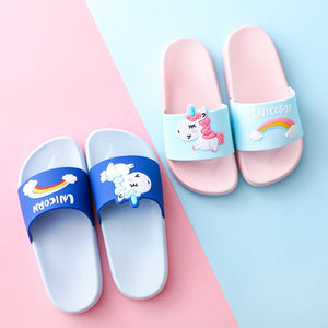 Unicorn Slippers For Boy Girl Cartoon Rainbow Shoes Summer Todder Flip Flops Baby Indoor Slippers - shopbabyitems