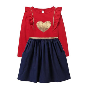 Children Girls Dresses Heart Applique Kids Dress Long Sleeve Red Dress Christmas Dress Girl Autumn Winter Sequins Dresses - shopbabyitems
