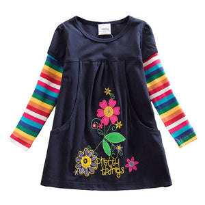 Girls Flower Dresses Children Cotton Dress Long Sleeve Autumn Winter Cartoon Kids Dress For Girls - shopbabyitems