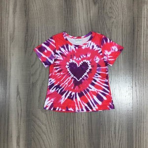 Valentine's Day Girlymax Spring Baby Girl Boutique Love Heart Shape Hot Pink Tie Dye Top Children Clothes Pullover Short Sleeve - shopbabyitems