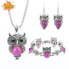 Load image into Gallery viewer, Vintage Owl Jewelry Sets for Women Wedding Party Necklace Earring Bracelet Boho - shopbabyitems