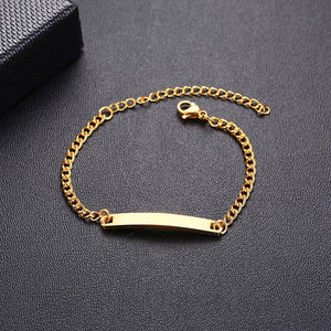 Personalize Custom Baby Name Bracelet Gold Tone Solid Stainless Steel Adjustable Bracelet - shopbabyitems