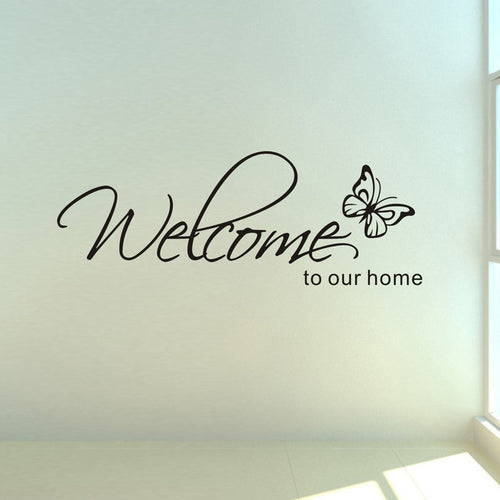 'Welcome To Our Home' Text Patterns wall sticker home decor living room Decals wallpaper bedroom Decorative butterfly Stickers - shopbabyitems