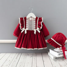 Load image into Gallery viewer, Winter Baby Girls Dress Velvet  Thicken Dress Princess Dress+Hat Girls Kids Christmas New Year Clothes - shopbabyitems