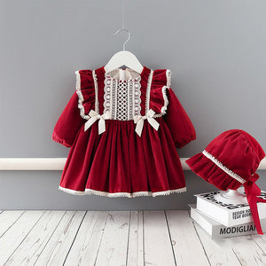 Winter Baby Girls Dress Velvet  Thicken Dress Princess Dress+Hat Girls Kids Christmas New Year Clothes - shopbabyitems