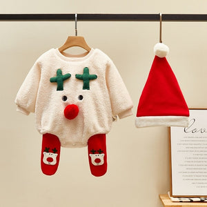 Winter Girls Ropmer Newborn Infants Baby Kids Children Deer Velvet Thicken Overalls+Leggings+Xmas Hat Christmas 3PCS Sets 11429 - shopbabyitems