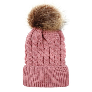 Winter Hats For Kid Knit Beanie Baby Hat 2020 Children Fur Pom Pom Hats For Girls Boys Warm Cap - shopbabyitems